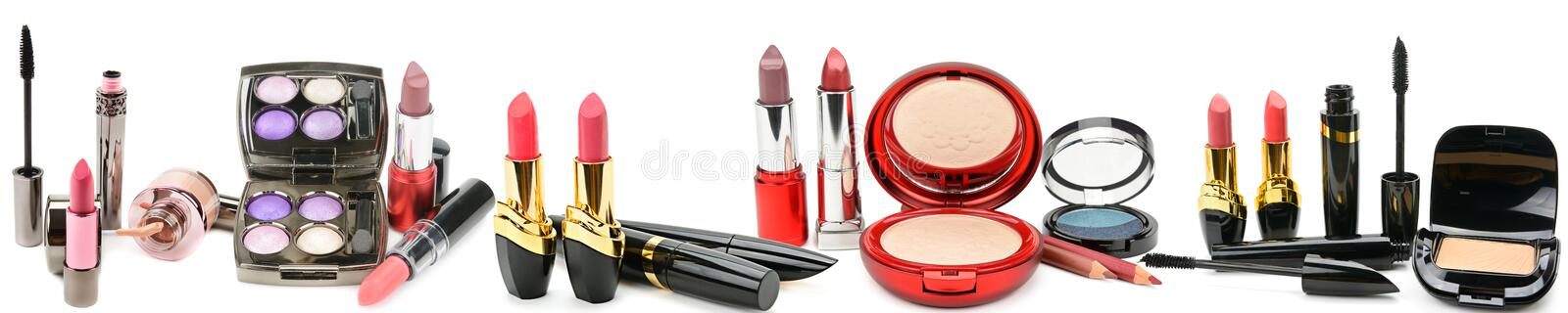Set of decorative cosmetics isolated on white background. Panoramic collage. Wide photo . stock photos