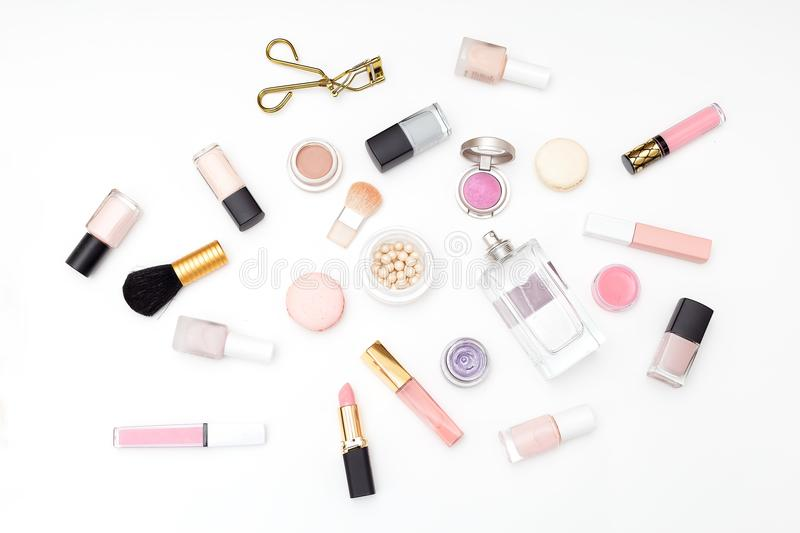 Set Of Decorative Cosmetics On A Light Background  Flat Lay Stock