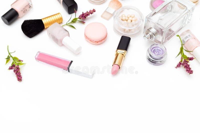Set of decorative cosmetics on white background. Copy space. Set of decorative cosmetics on white background stock images