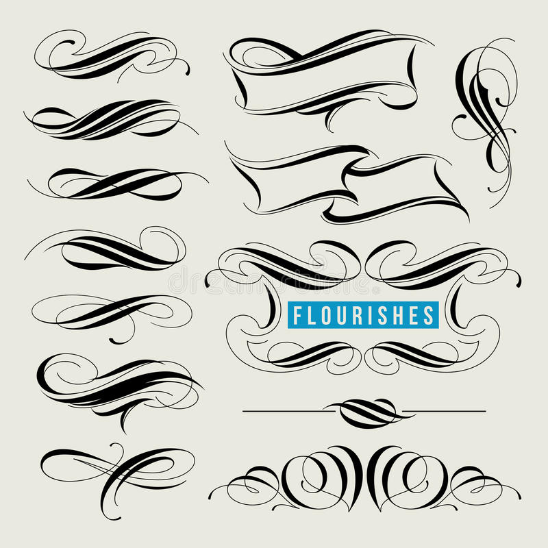 Set of decorative design elements, calligraphic flourishes royalty free illustration