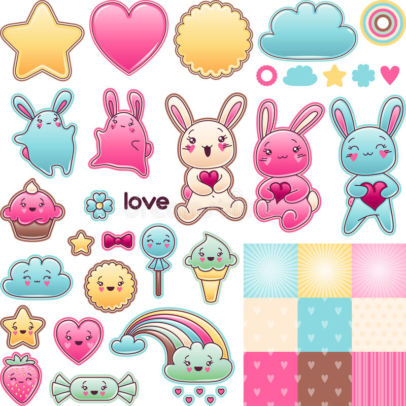 Set of decorative design elements with kawaii royalty free illustration