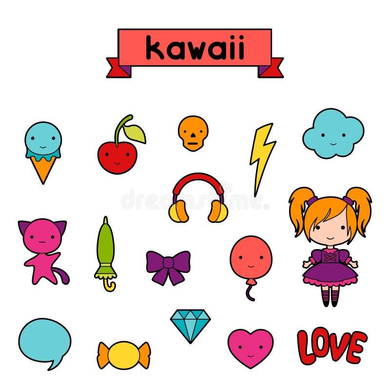Set of decorative design elements kawaii doodles royalty free illustration
