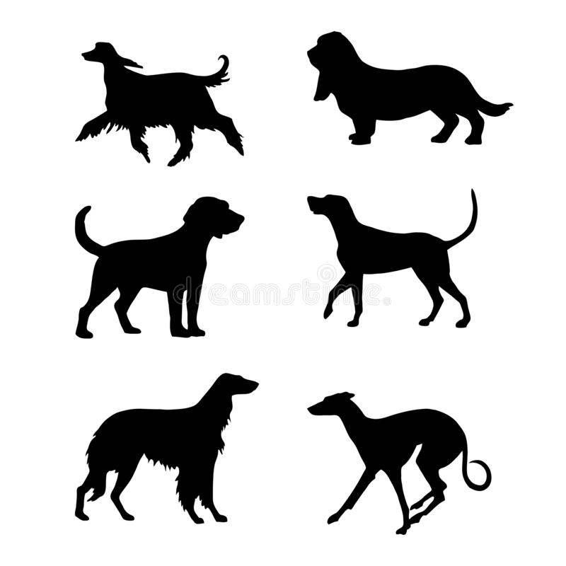 Set of decorative dogs silhouette for design royalty free stock photography