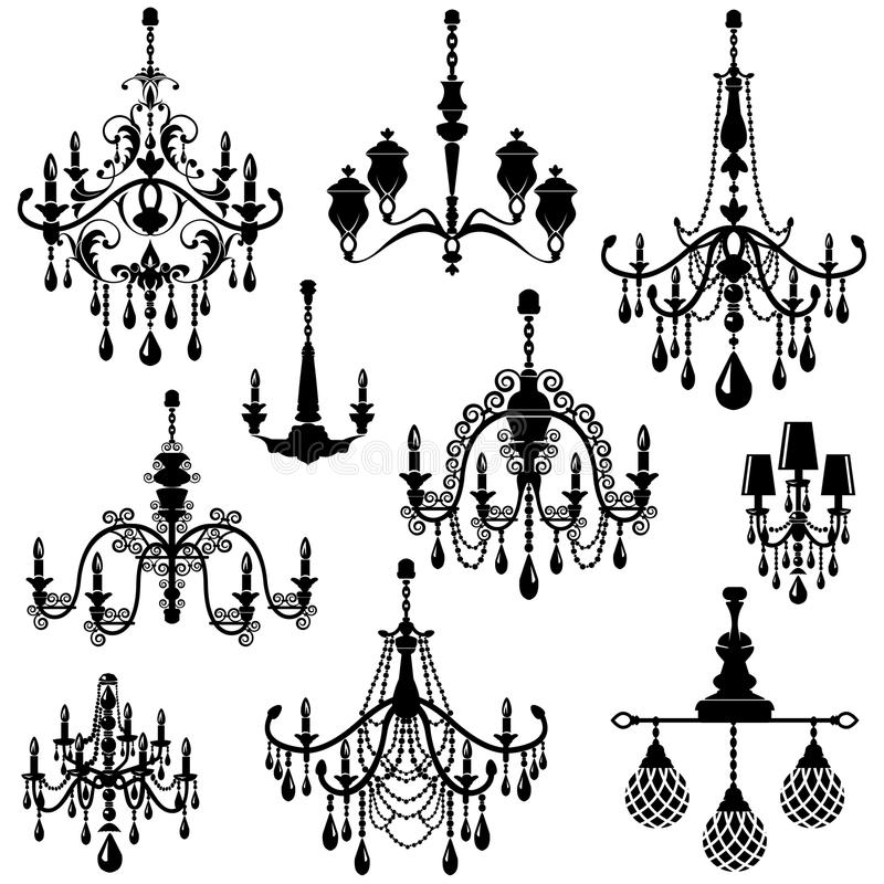 Set of Decorative elegant luxury vintage crystal chandelier icon. S, black silhouette luster isolated on white royalty free illustration