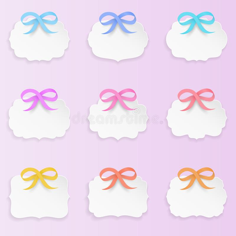 Paper Shape set of 9 decorative paper shape labels with bows clean and