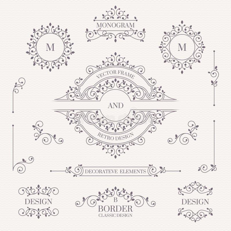 Set of decorative elements. Decorative monograms, borders, frame vector illustration