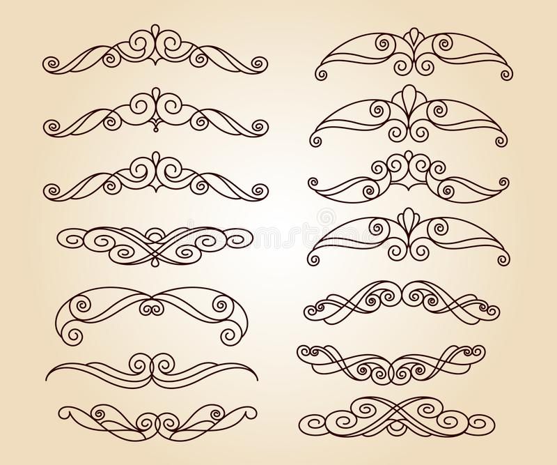 Set of decorative elements. Dividers.Vector illustration. royalty free illustration
