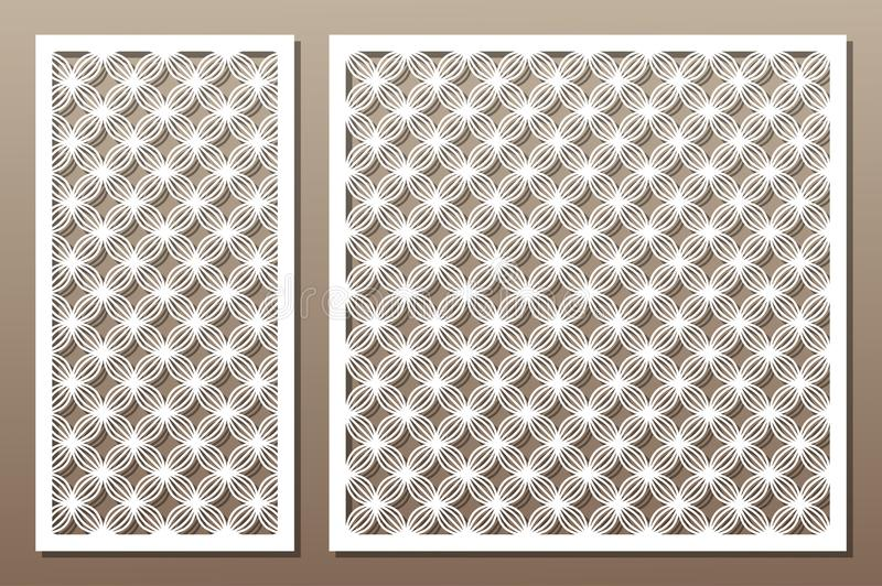 Set decorative elements for laser cutting. Geometric ornament pattern. Pattern wave lines. The ratio 1:2, 1:1. Vector illustration vector illustration