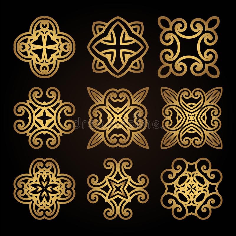 Set of decorative elements for laser cutting of wood. Pattern for creating interior decorations, logo, icons. royalty free illustration