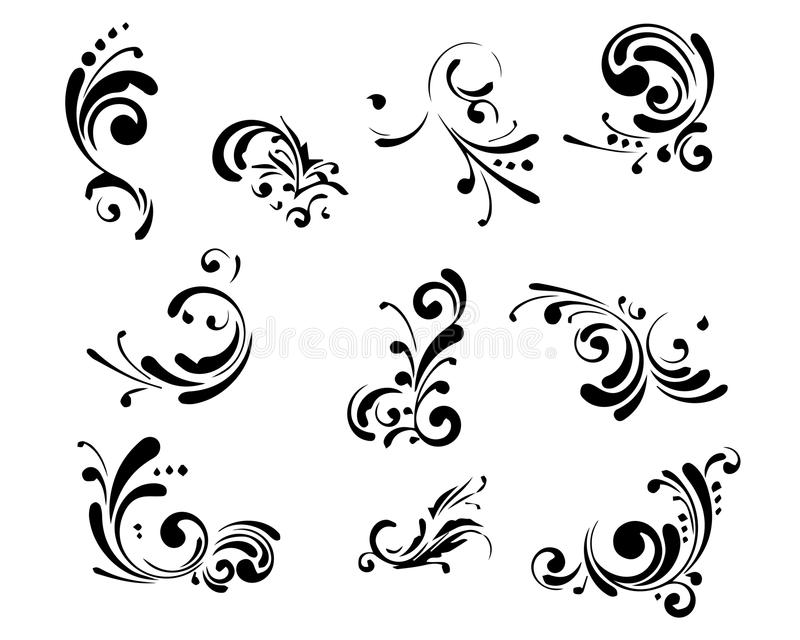 Collection of decorative elements stock illustration