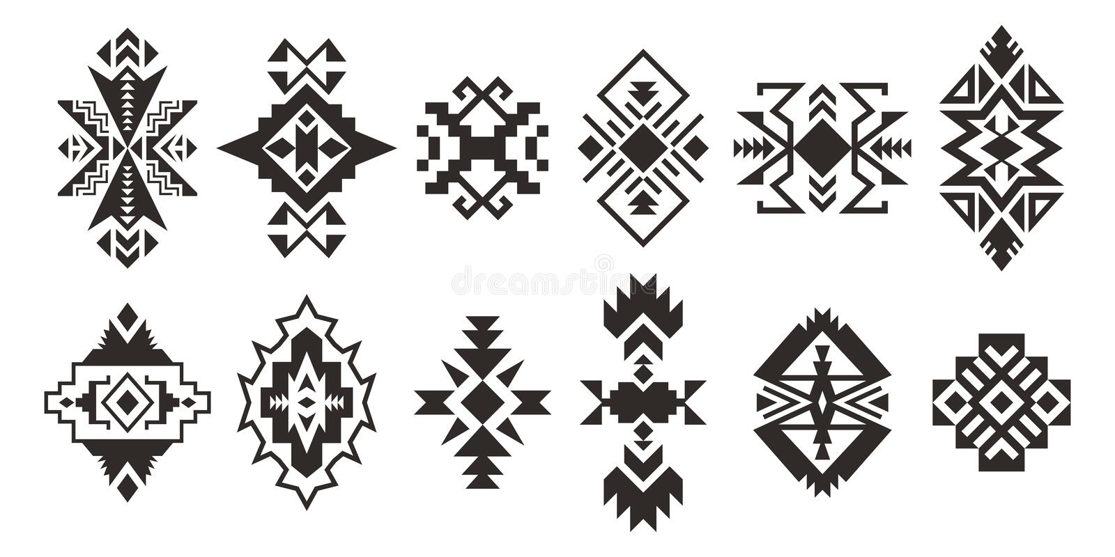 Set of Ethnic decorative elements isolated on white background stock illustration