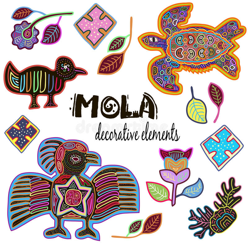 Set of Decorative Ethnic Elements. Mola Style Design. royalty free stock photography