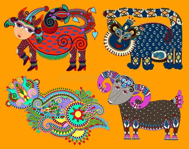 Set of decorative ethnic folk animals in Ukrainian. Traditional karakoko style - fantasy monsters and flower, vector illustration stock illustration