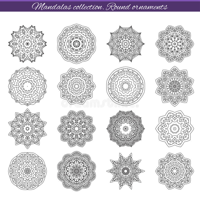 Set of decorative ethnic mandalas. Outline isolates ornament. Vector design with islam, indian, arabic motifs. vector illustration
