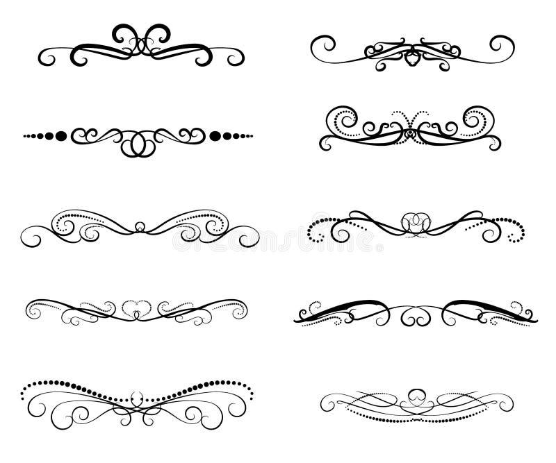Set of decorative flourish dividers, borders stock illustration