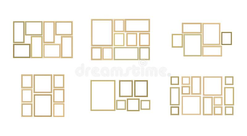 Set of decorative frame picture with gold border, Vector design on blue background with copy space. Set of decorative frame picture with gold border, Vector vector illustration