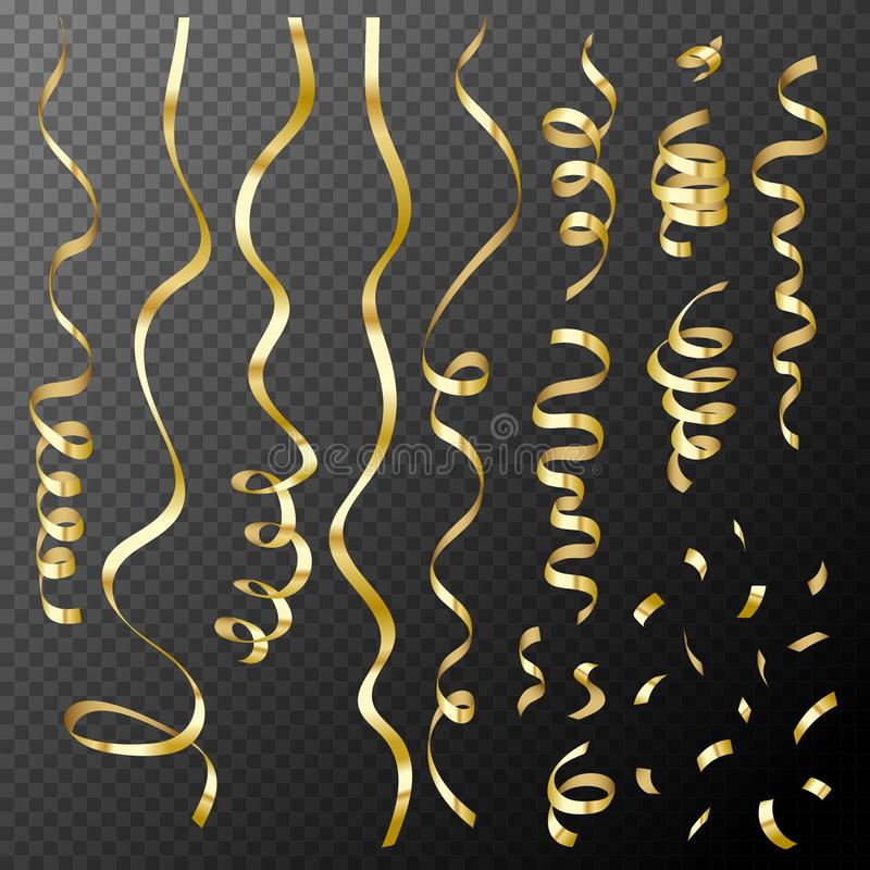 Set of decorative gold confetti and ribbons on transparent background, vector illustration vector illustration