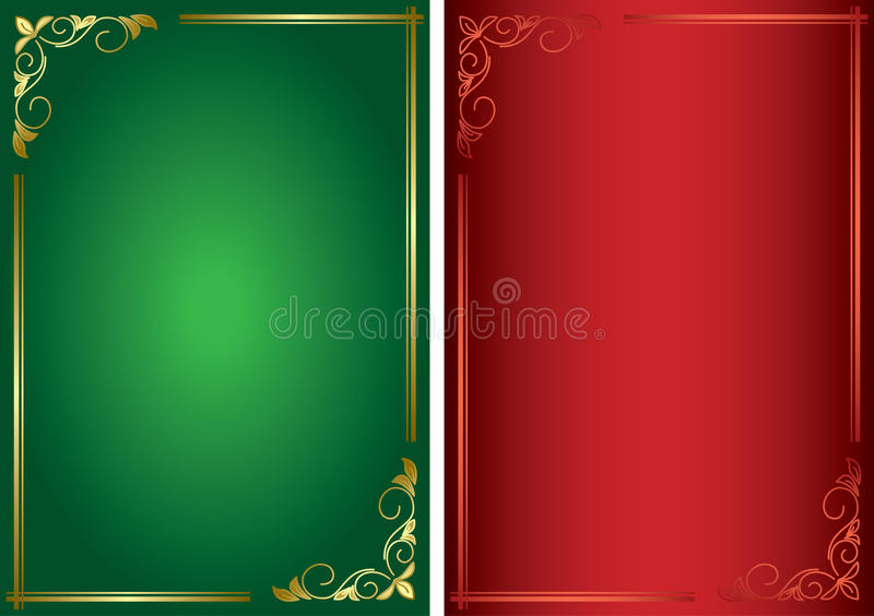 Set - decorative green and red frames - eps royalty free illustration