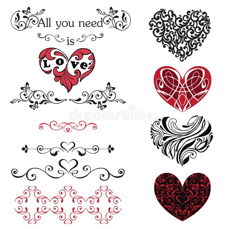 Set of decorative hearts, vignettes. Red and black hearts isolated on white background royalty free illustration