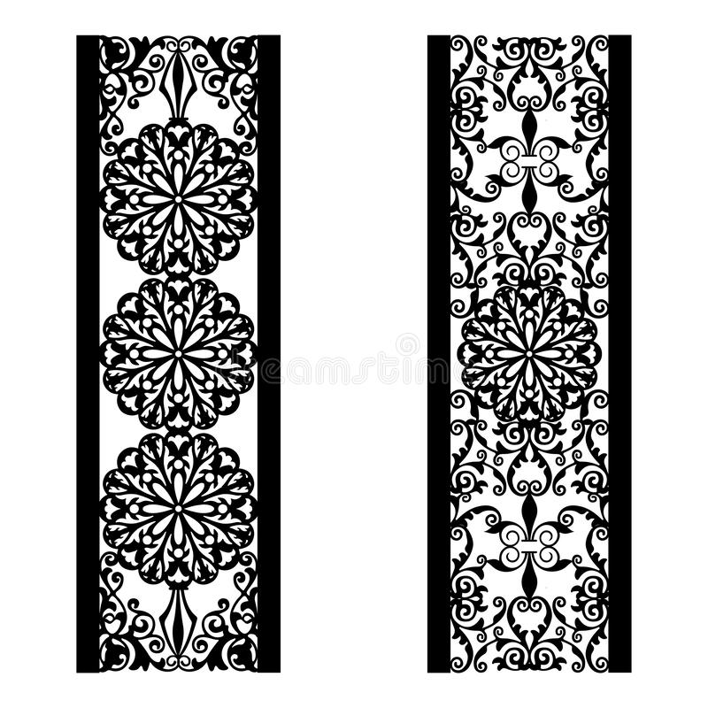 Set of decorative lace borders. Ornamental panels with floral pattern. Flowers and leaves. Set of bookmarks templates. Image stock illustration