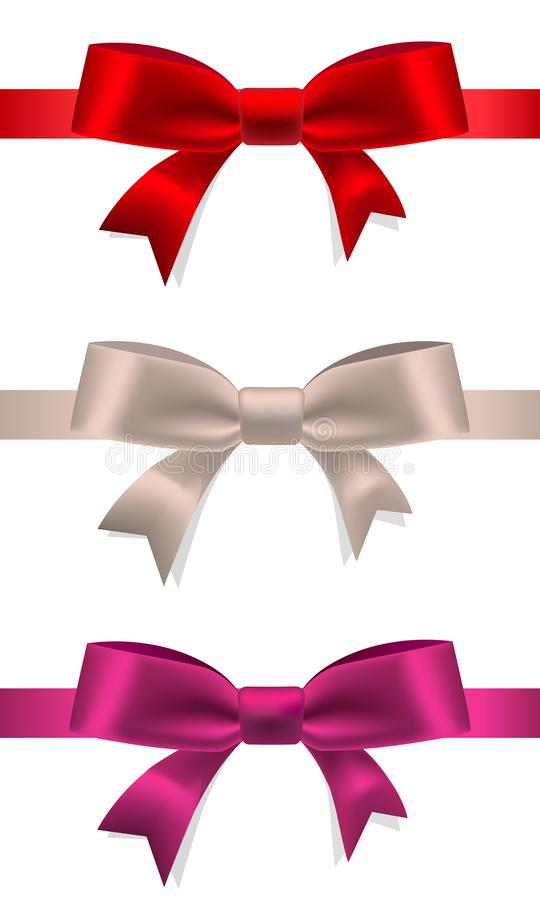 Set of decorative multicolored bows with horizontal ribbons isolated on white. Vector stock image