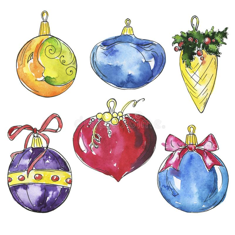 Set of decorative new year balls. Watercolor and ink sketch. Set of beautiful decorative new year or christmas balls isolated on white background. Hand drawn royalty free illustration