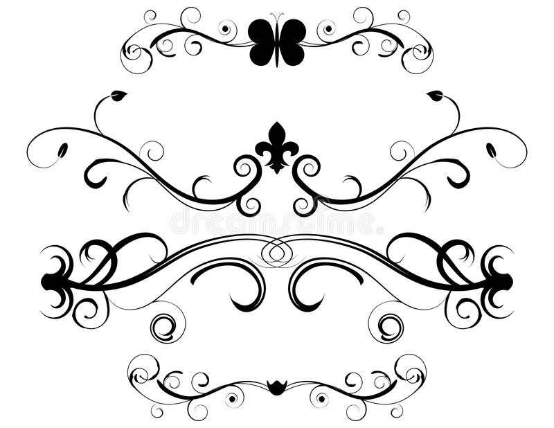 Set of Decorative Page Dividers. Isolated on white royalty free illustration