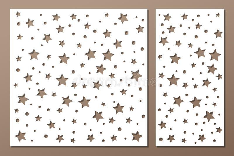 Set decorative panel laser cutting. wooden panel. Elegant modern geometric abstract holiday pattern. Stencil Ratio 1:2, 1:1 Vector. Set decorative panel laser royalty free illustration
