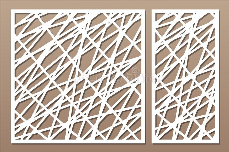 Set decorative panel laser cutting. wooden panel. Elegant modern geometric abstract pattern. Ratio 1:2, 1:1. Vector illustration.  royalty free illustration