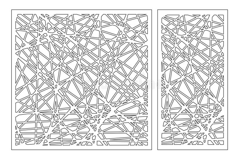 Set decorative panel laser cutting. wooden panel. Elegant modern geometric abstract pattern. Ratio 1:2, 1:1. Vector illustration.  stock illustration