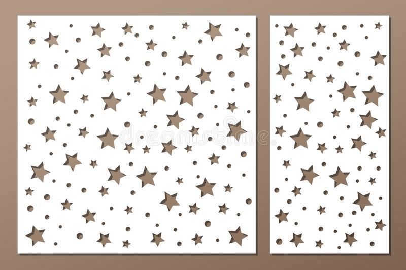 Set decorative panel laser cutting. wooden panel. Elegant modern geometric abstract holiday pattern. Stencil Ratio 1:2, 1:1 Vector. Set decorative panel laser vector illustration