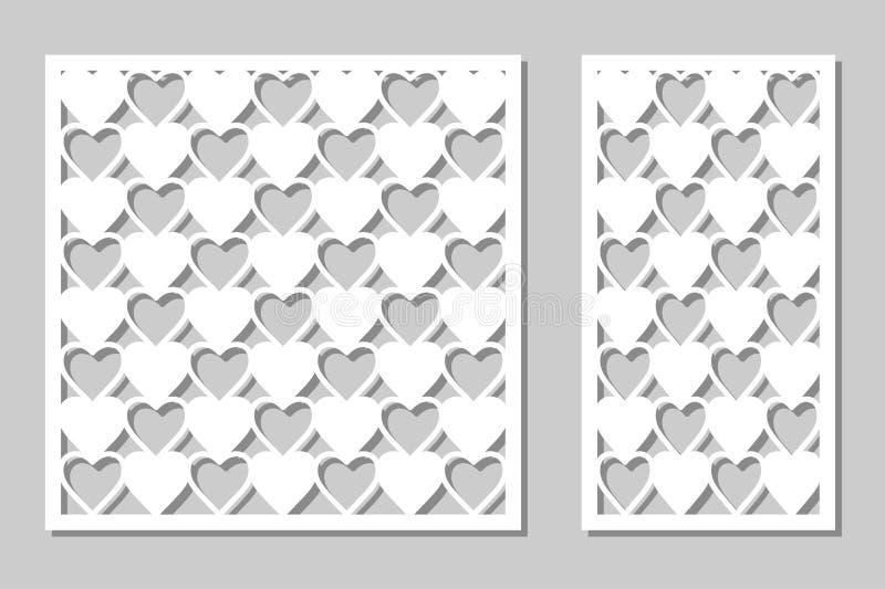 Set decorative panel laser cutting. wooden panel. Modern, elegant geometric heart patterns. Ratio of 1:2, 1:1. Vector. Illustration vector illustration