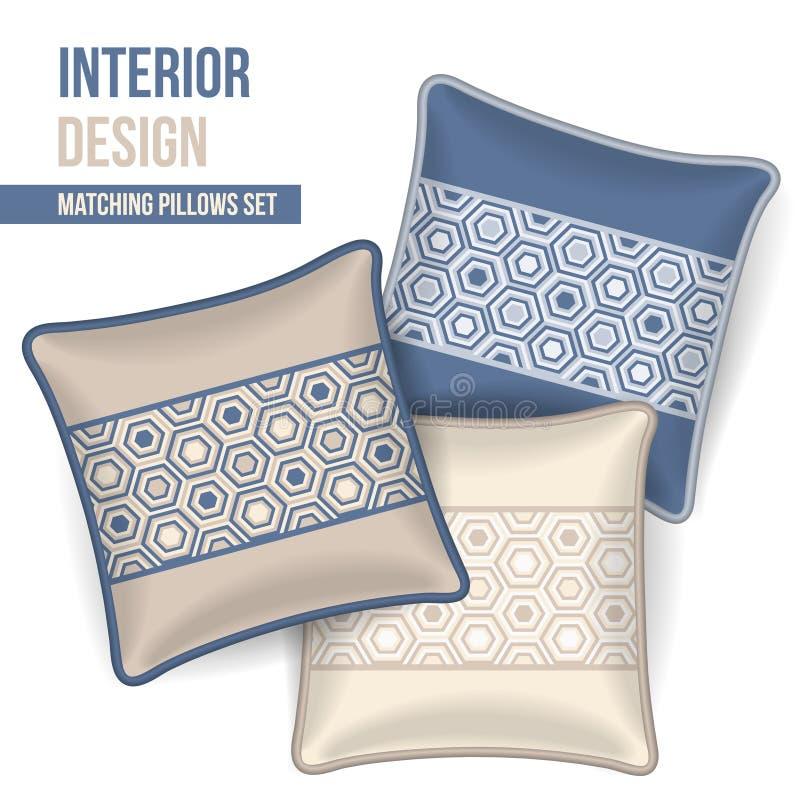 Set of decorative pillow royalty free illustration