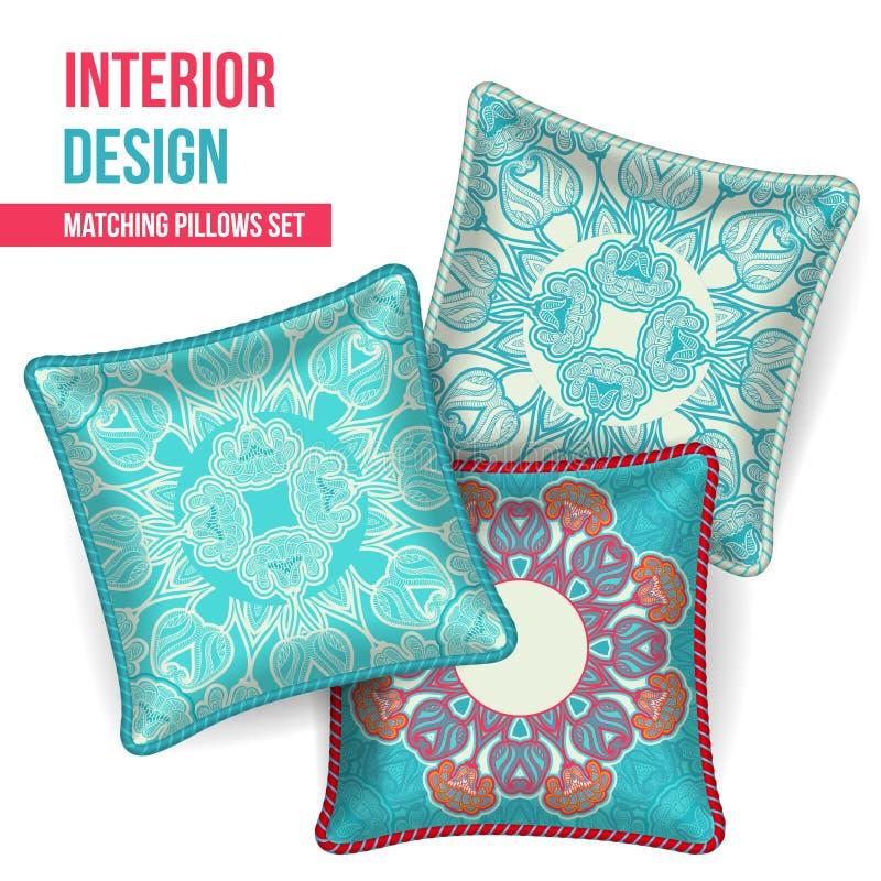 Set of decorative pillow vector illustration