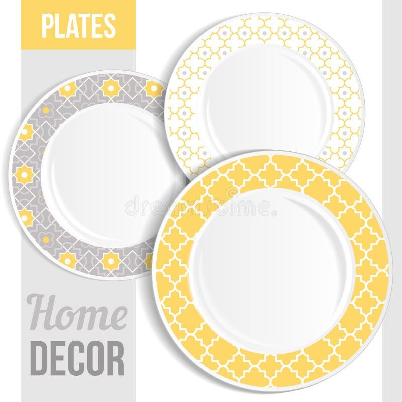 Set of decorative plates. Set of 3 matching decorative plates for interior design - pink flower. Vector illustration royalty free illustration
