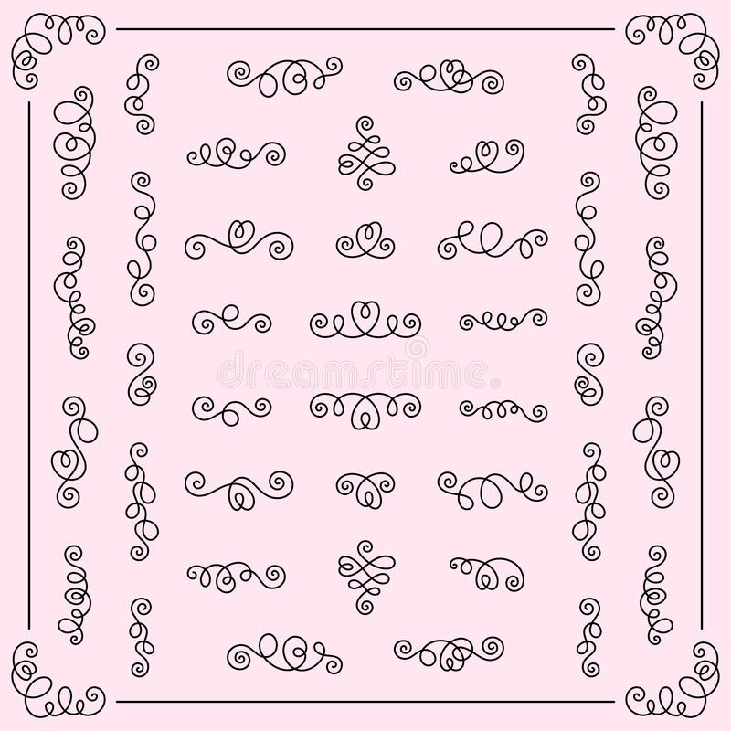 Set of Decorative Romantic Design Elements Calligraphic Swirls f royalty free illustration