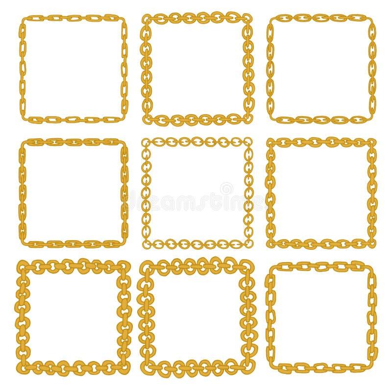 Set Of 9 Decorative Square Gold Border Frames. Stock Vector ...