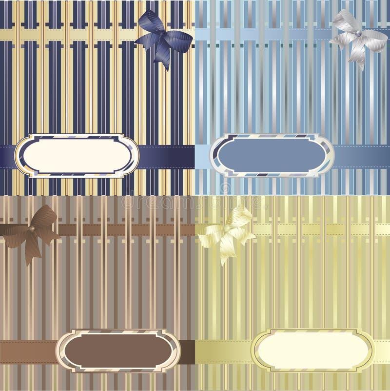 Set of decorative striped backgrounds stock illustration