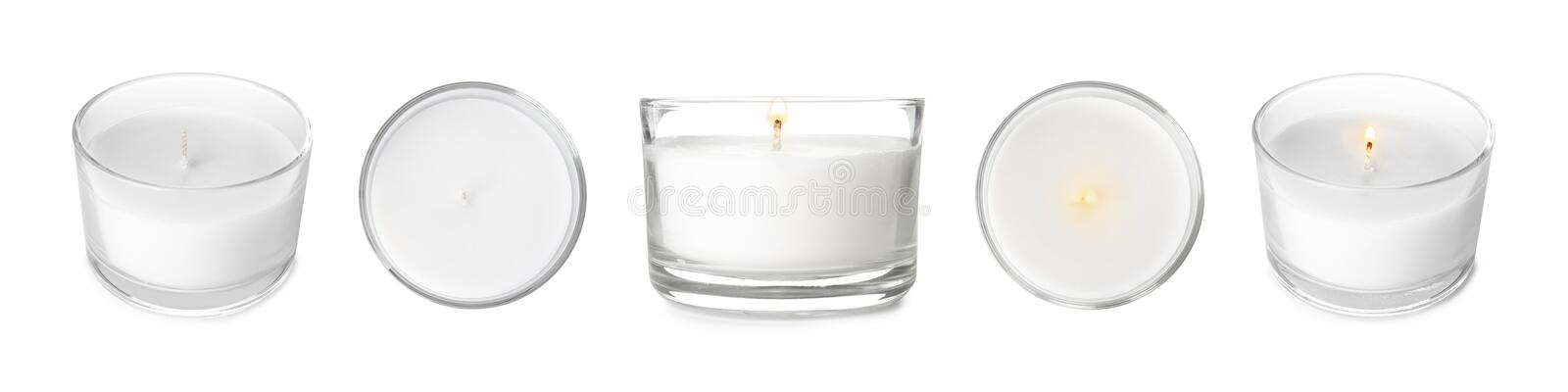 Set with decorative wax candles on white. Banner design royalty free stock photos