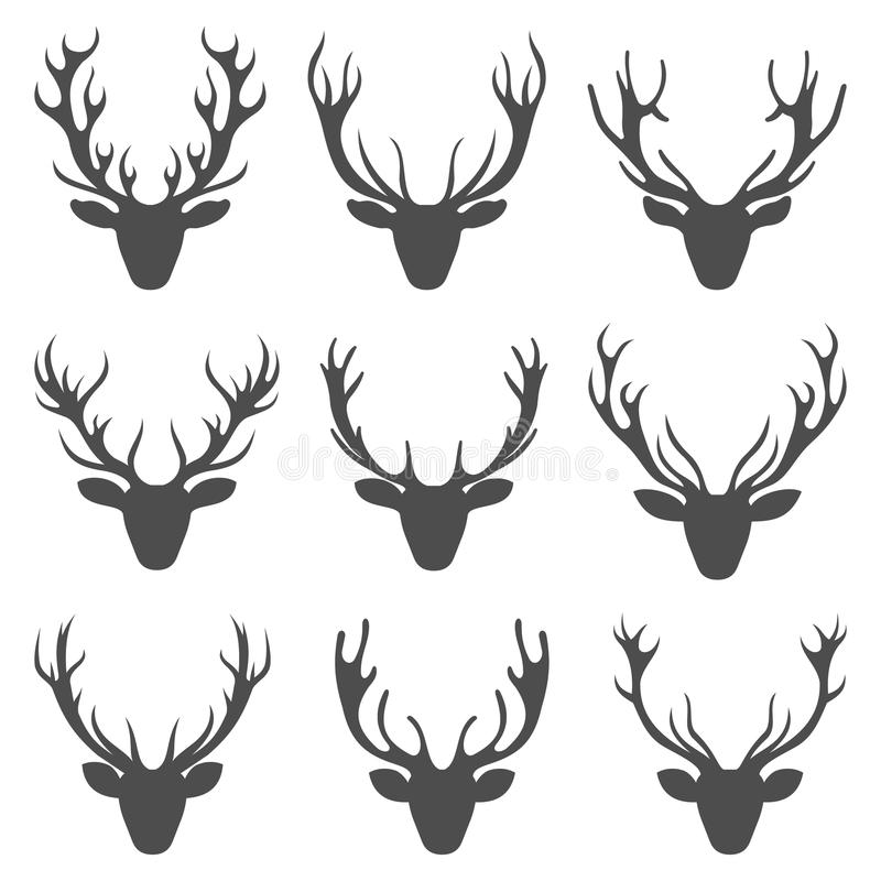 Set Deer Heads, Collection Stag Horns, Isolated on White Background royalty free illustration