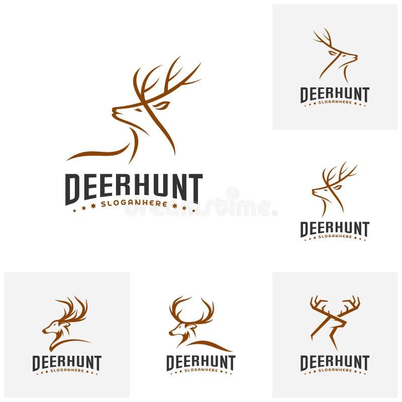 Set of Deer Hunt Logo template, Elegant Deer Head logo designs vector vector illustration
