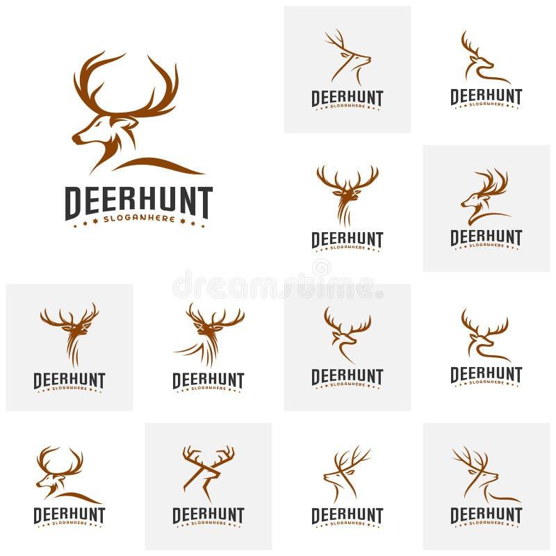 Set of Deer Hunt Logo template, Elegant Deer Head logo designs vector stock illustration