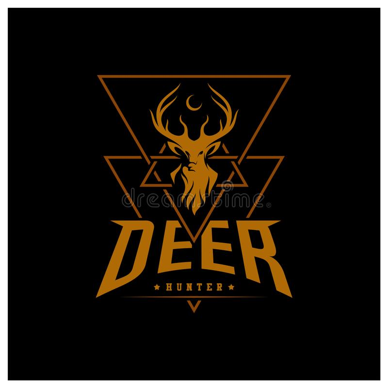 Set of Deer Hunt Logo template, Elegant Deer Head logo designs vector royalty free illustration