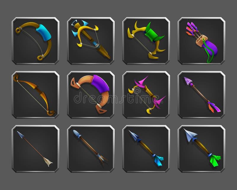 Set dekoracj ikony dla gier Kolekcja średniowieczny łęk, crossbow, strzała i kołczan, ilustracja wektor
