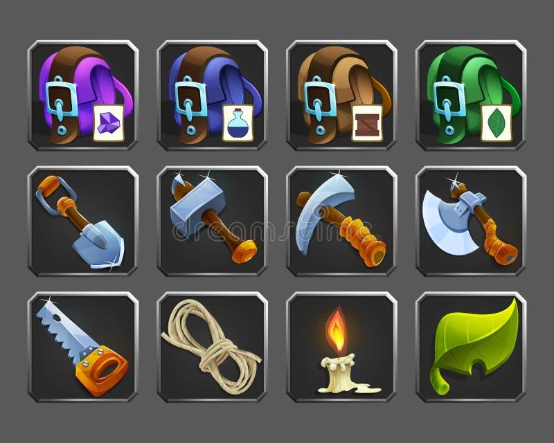 Set dekoracj ikony dla gier Narzędzia, torby, świeczka, arkana royalty ilustracja