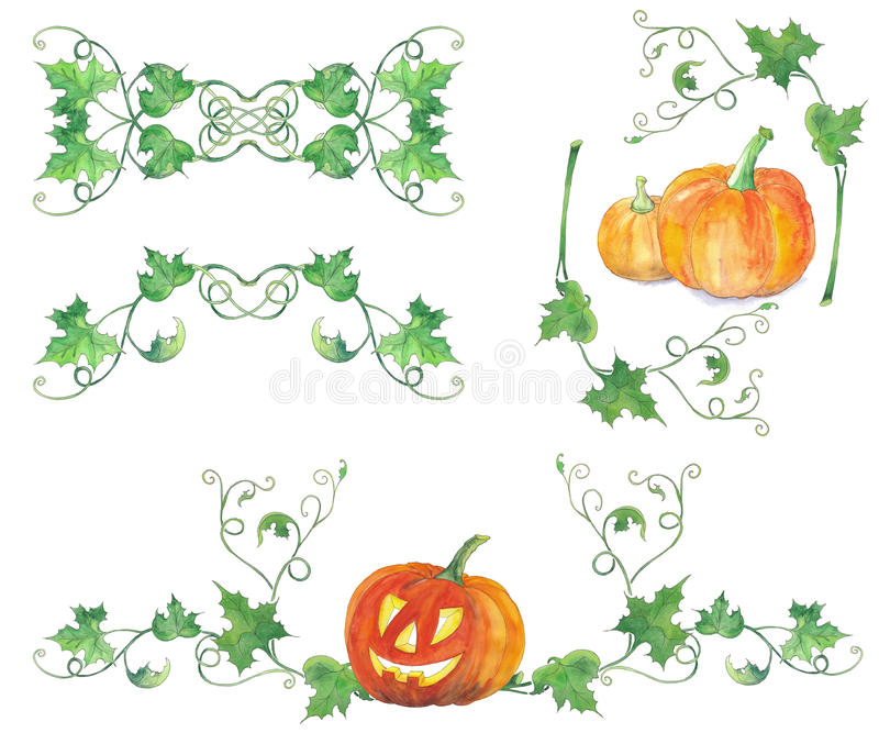 Set dekoracje z Halloween baniami Akwarela wzór fotografia stock
