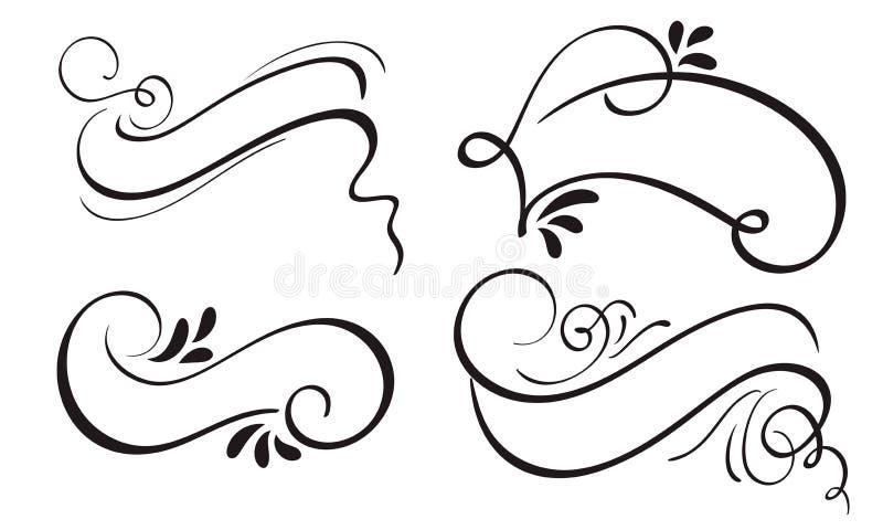 Set Dekoracyjna kaligrafia faborku ramy granic i sztandaru sztuka Literowanie wektorowa ilustracja EPS10 ilustracja wektor