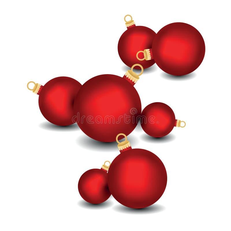 Set dekoracyjne czerwone Bożenarodzeniowe piłki odizolowywać na białym tle, ilustracja royalty ilustracja