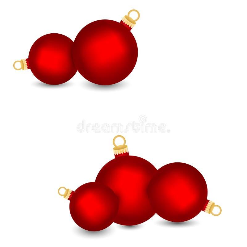 Set dekoracyjne czerwone Bożenarodzeniowe piłki odizolowywać na białym tle, ilustracja ilustracji
