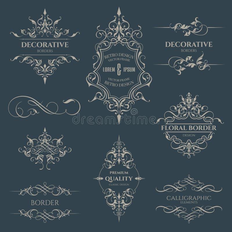 Set Dekoracyjne granicy i ramy ilustracja wektor